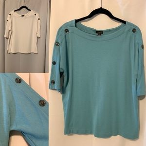 ATF Ponte Button Sleeve Top
